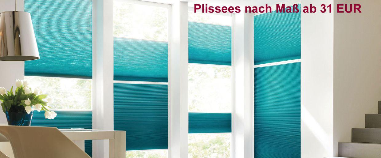 Plissees nach Maß ab 31 EUR - Perfekter-Sonnenschutz.de